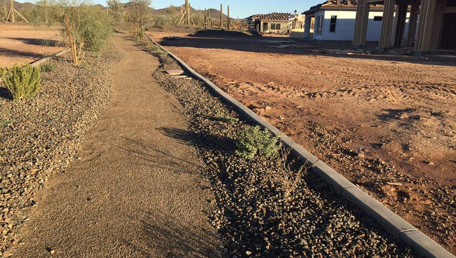 A new hiking trail winds its way between new homes under construction at Trilogy at Vistancia.