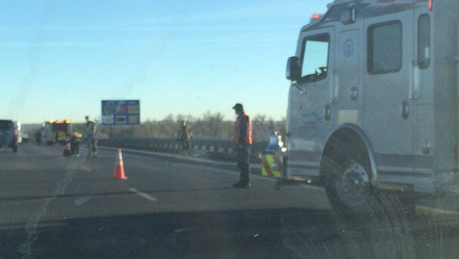 A grass fire alongside southbound Interstate 25 between Harmony and Prospect roads caused delays Wednesday afternoon.