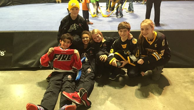Members of the Atlanta Fire played in the NHL Jr. All-Star Tournament and attended the NHL All-Star Game Sunday. Pictured are Jett Kremer, Luca Orelli, Mitchell McCusker, Xavier Goodwin, Kash Crawford and Chiara Kremer.