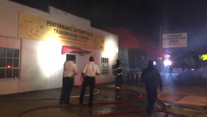 . Fire crews were called to the Performance Automotive and Transmission Center in the 2100 block of East Texas Street at approximately 7:37 p.m.