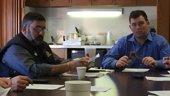 OHSEP Director Neal Brown (left) and Ouachita Parish Police Jury President Scotty Robinson in meeting addressing emergency repairs at River Styx Pump Station.