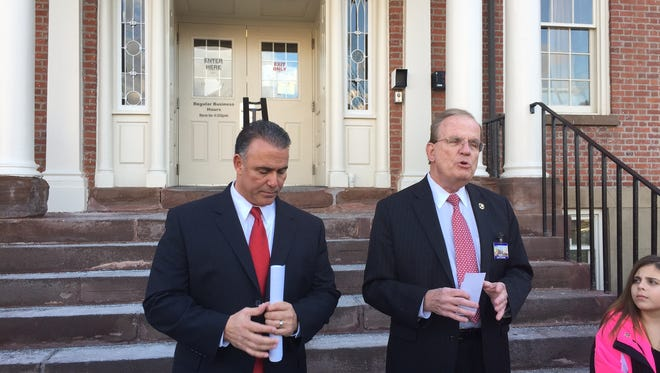At right, Morris County Sheriff Edward V. Rochford endorses GOP candidate for sheriff John G. Sierchio on Feb. 10, 2016.