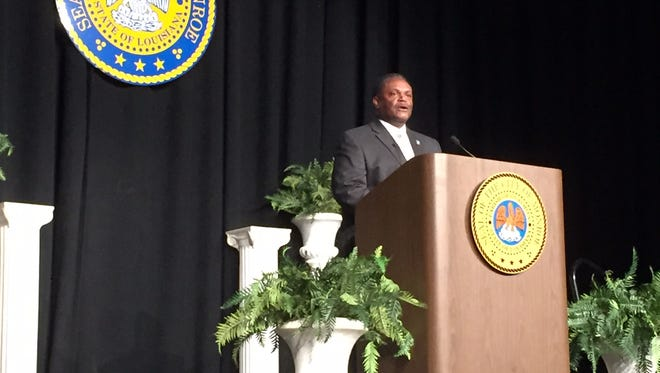 Monroe Mayor Jamie Mayo delivers the State of The City address Thursday at the Monroe Civic Center.