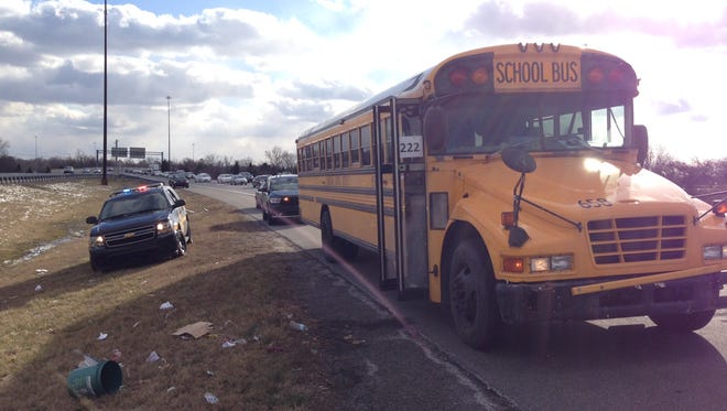 A fight broke out on a Christiana High School bus on its way home from school Thursday, prompting a pullover on I-95 northbound.