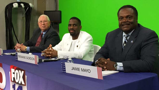 Monroe mayoral candidates (L-R) Councilman Ray Armstrong, Tremaine Donte Gordon and Mayor Jamie Mayo participated in a televised debate Monday.