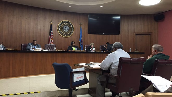 Council members review the proposed budget for FY 2016-17 in a hearing Thursday.