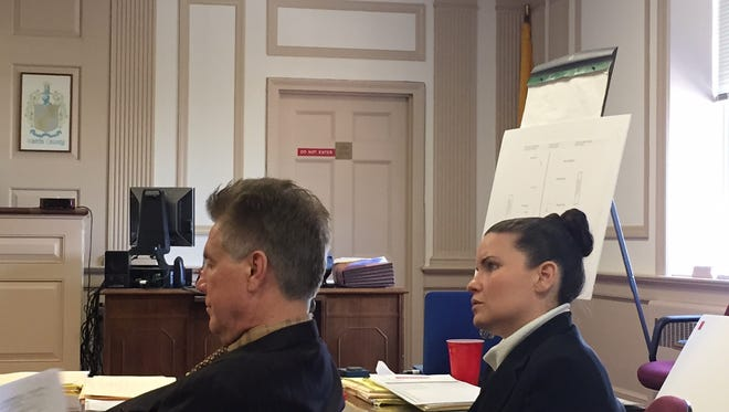 Vanessa Brown and defense lawyer Edward Bilinkas at Brown's trial in Morristown on charges of killing Ralph Politi in East Hanover while driving drunk.