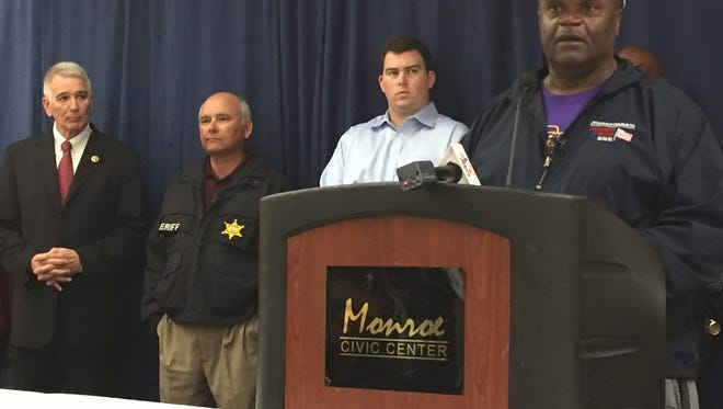 Monroe Mayor Jamie Mayo discusses latest flood information during a news conference Wednesday.  Joining Mayo (from L-R) U.S. Congressman Ralph Abraham, Ouachita Parish Sheriff Jay Russell and Ouachita Parish Police Jury President Scotty Robinson