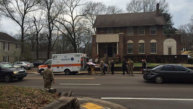 A woman was hit by a car this afternoon near the intersection of North Highland Avenue and East King Street.