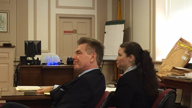 Defense lawyer Edward Bilinkas and Vanessa Brown at Brown's trial in Morristown, March 17, 2016, on charges of killing Ralph Politi Jr. in East Hanover.