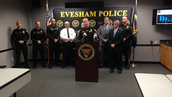 Evesham Township Police Chief Christopher Chew discusses a safety initiative in the school district. His department will foot the bill next school year for the police officers who are at each school.