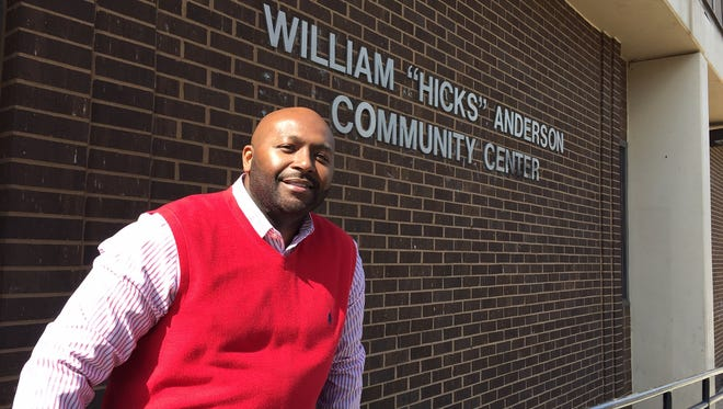 "U'Gundi Jacobs stands outside the William ""Hicks"" Anderson Center in Wilmington on Monday. He was named executive director of the neighborhood center this month."