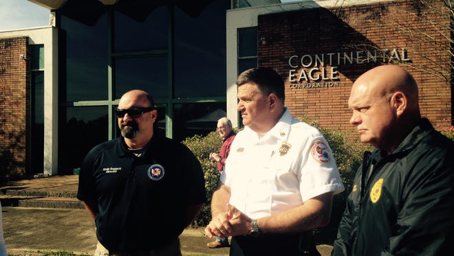From left, Ernie Baggett, Autauga County EMA, Fire Chief Terry Brown and Police Chief Mark Thompson at Tuesday's groundbreaking of the Prattville public safety building.