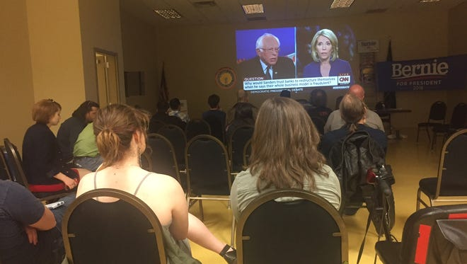 Area supporters of Democratic presidential candidate Bernie Sanders met in East Manchester Township to watch the Brooklyn debate together.