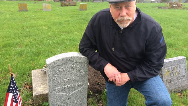Mike Rowley of Clive has led efforts to put new markers on military veteran's graves and was captivated by the story of Alfred M. Lyon, which will told at a ceremony Saturday.