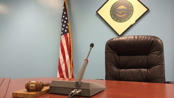 The president's seat in the Delaware County commissioners' court.