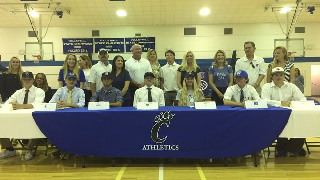 Canterbury signs eight athletes to national letters of intent on Thursday inside the gymnasium.