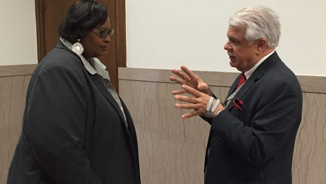 Monroe City Councilwoman Betty Blakes and her attorney, John Settle Jr., prepare for case to resume Tuesday in 4th Judicial Court.