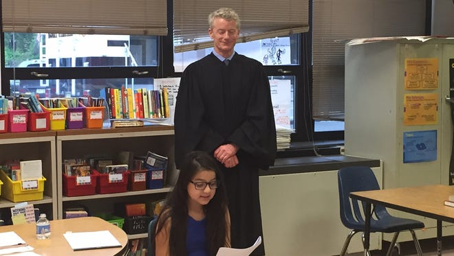 Superior Court Appellate Division Judge Robert Gilson at Career Day at the Normandy Park School, Morris Twp., on May 13, 2016.