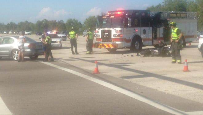 A motorcycle crash closed lanes on U.S. 41 Saturday.