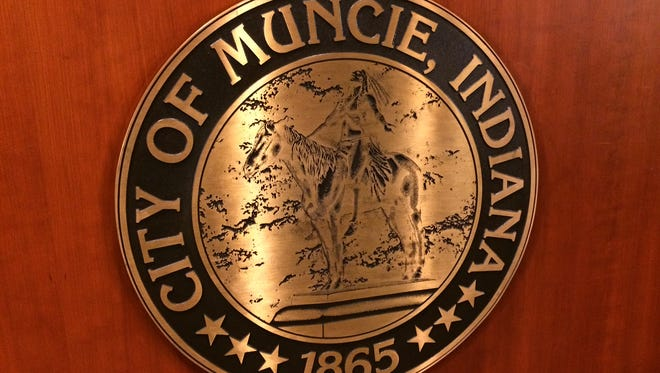 The seal of the city of Muncie in the Muncie City Hall auditorium.
