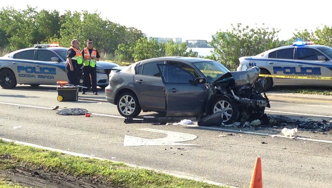 Two people were hurt in a crash involving a SCAT bus that happened near Cape Canaveral Hospital on Monday morning.