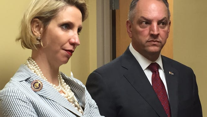 Gov. John Bel Edwards and DHH Secretary Dr. Rebekah Gee visited two hospitals in Monroe Wednesday in promoting Medicaid expansion.