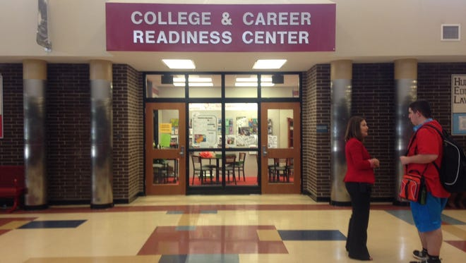 Jeffersonville High Principal Julie Straight talks with a student outside the school's College and Career Readiness Center.