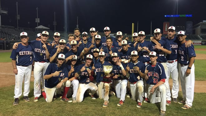 The Roy C. Ketcham baseball team poses after winning the Section 1 Class AA title.