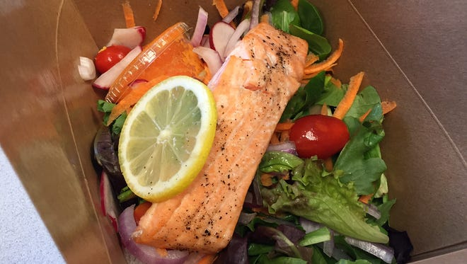 Salmon and salad from Saundra's Kitchen