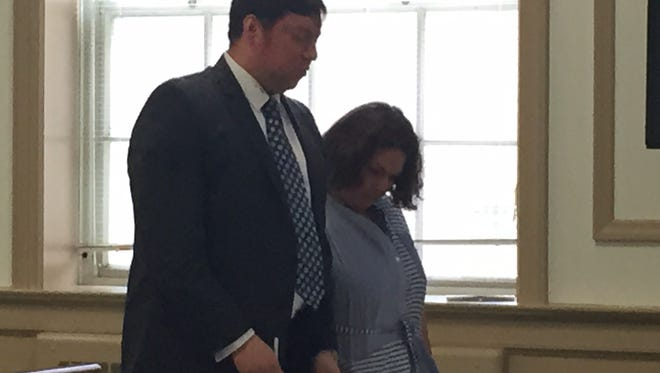 Jennifer Larocca in Superior Court, Morristown, on June 3, 2016, for sentencing on theft from comedian Joe Piscopo. Her lawyer, Eduardo Jimenez, is at her side.