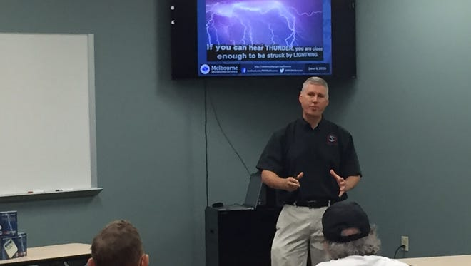Scott Spratt of the National Weather Service in Melbourne gives a presentation on lightning safety on Saturday at the Weather-Ready Expo at the Rockledge Police Department.