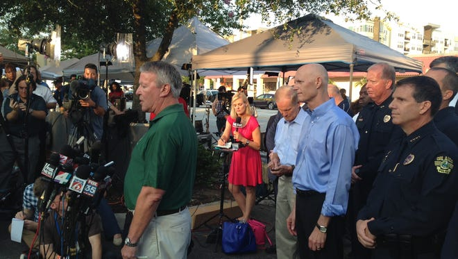 Florida governor Rick Scott arrives at a press conference in Orlando to discuss Sunday's mass shooting at Pulse nightclub
