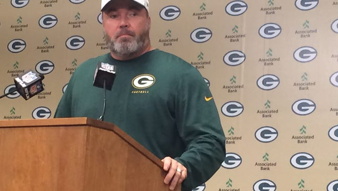 Packers coach Mike McCarthy addresses the media Wednesday.
