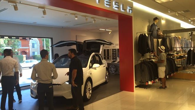 A Tesla ministore has opened inside a Nordstrom at The Grove mall in Los Angeles