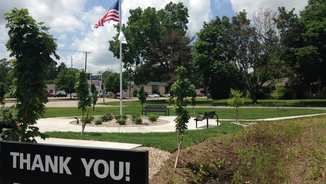 Mutual Bank built a mini park to accompany its new branch on West Jackson Street.
