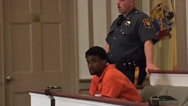 Tyrell Lansing, suspect in the shootings of two men in Victory Gardens, in Superior Court, Morristown, on July 1, 2016.