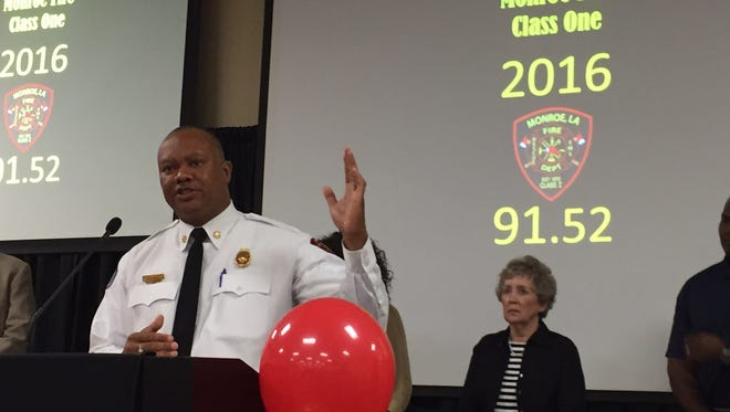 Monroe Fire Chief Terry Williams discusses the department retaining its Class 1 rating Thursday.