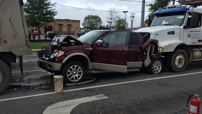 Three vehicles were involved in a crash at the intersection of Riverside Drive and North 2nd Street Monday morning.