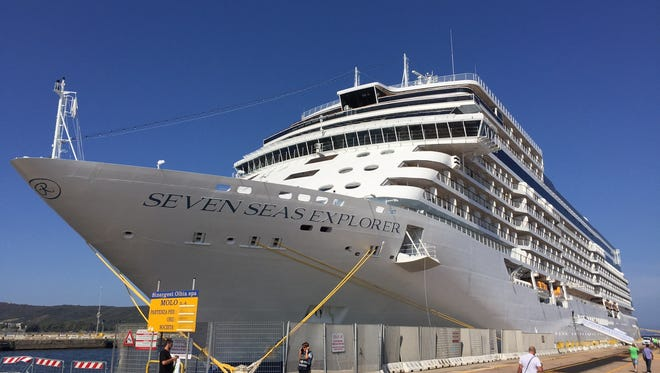 The 750-passenger Seven Seas Explorer docked in Olbia, Sardinia in July 2016.