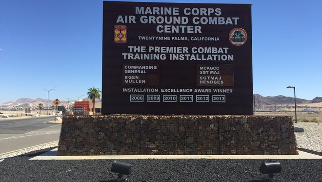 The sign at the entrance to the Marine Corps Air Ground Combat Center on July 13, 2016.