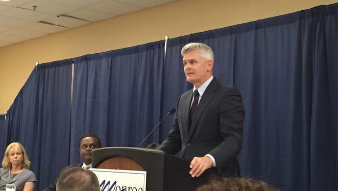 U.S. Senator Bill Cassidy spoke to the Monroe Chamber of Commerce on Tuesday.