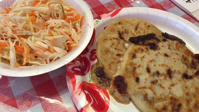pupusas and cabbage salad at Taqueria y Pupuseria Mari in Hamilton