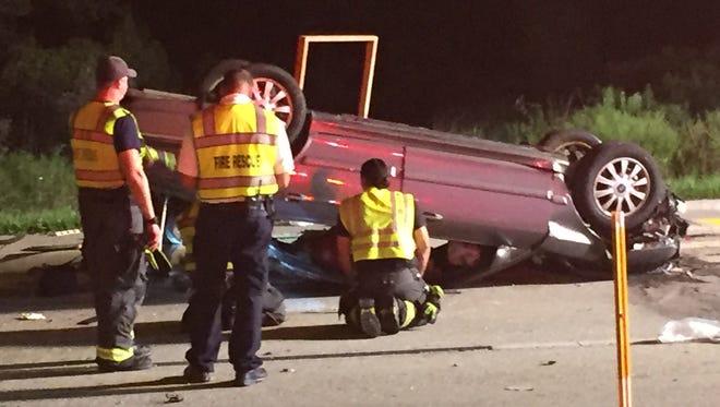 A vehicle crash on Three Oaks Parkway.