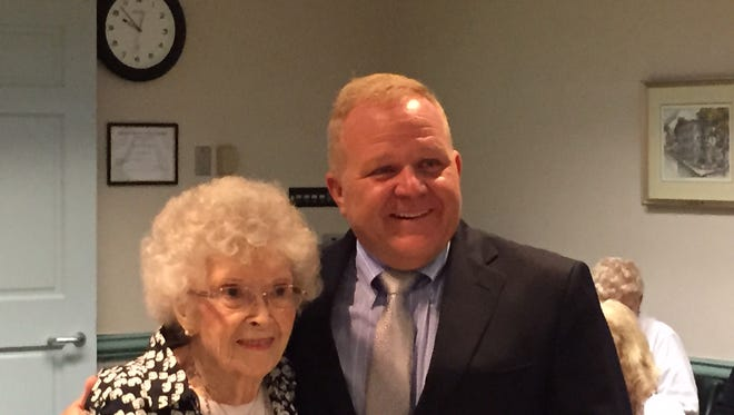 Chatham Township resident Alice Lundt, 100 years old, with Morris County Freeholder Douglas Cabana on Aug. 24, 2016.