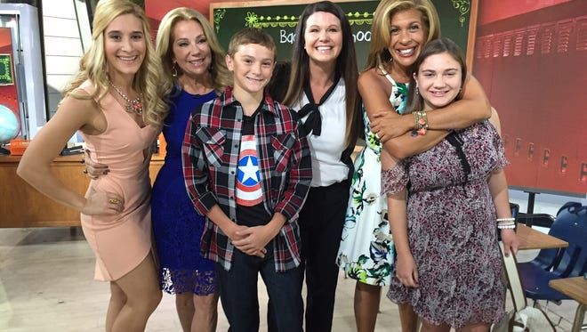 From left to right, Stylist Brittany Levine, Today Show host Kathy Lee Gifford, Portland Middle School student Cade Vallier, Portland teacher Amanda Cornwell, Today Show host Hoda Kotb and Portland student Ruthie Fedewa on the set in New York on Tuesday.
