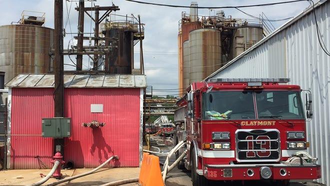 Firefighters battle a blaze at Iko Manufacturing in Fox Point.