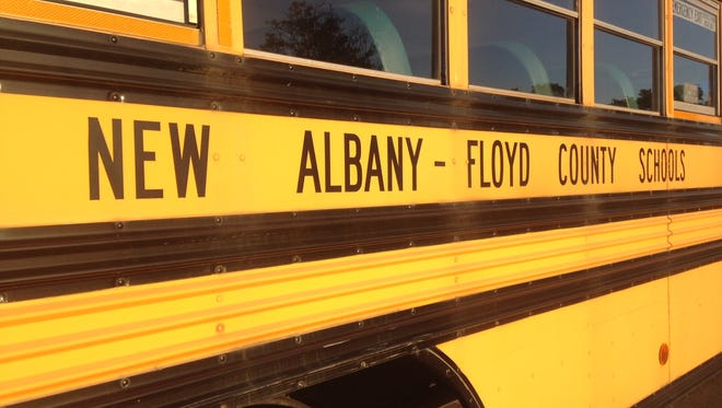 A bus outside the New Albany-Floyd County Consolidated School Corp. administration office