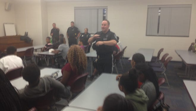 Burlington County Det. Michael Vining speaks to teens in Westampton as part of Police and Teens Together (PATT) Program.