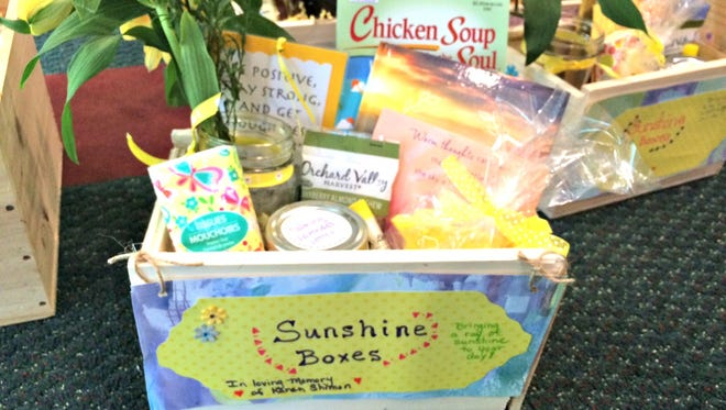 A filled Sunshine Box that was given to a cancer patient receiving chemotherapy treatment at the Vince Lombardi Cancer Clinic in Two Rivers.